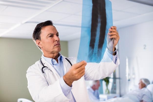 Mannelijke arts die x-ray rapport controleert