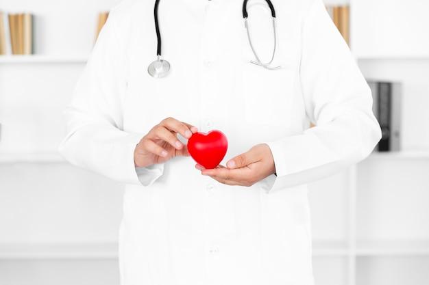 Mannelijke artsenhanden die pluchehart houden