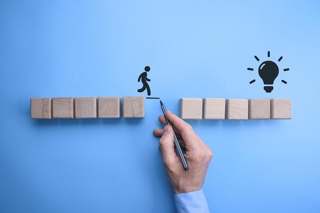 Mannelijke bedrijfsmensenhand die een verbindingslijn trekken tussen twee reeksen houten blokken voor een silhouetman om over te lopen.