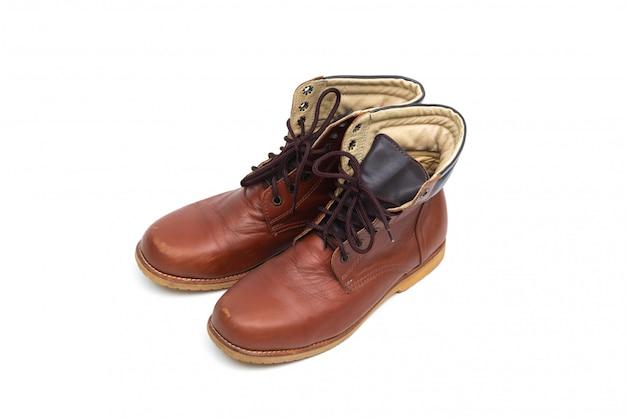 Mannelijke bruine lederen laars, schoenen mode