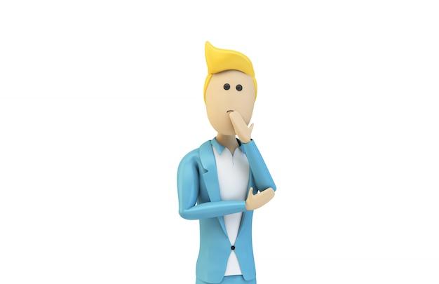 Mannelijke cartoon zakenman denken