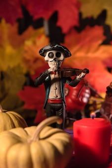 Mannelijke catrina-schedeldag van de dode viering