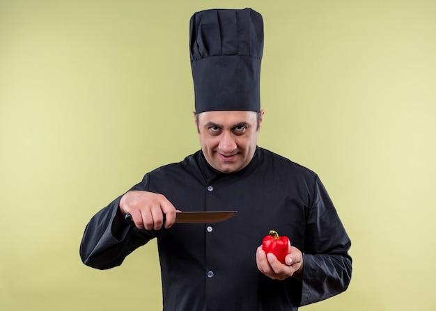 Mannelijke chef-kok dragen zwarte uniform en koken hoed met tometo en mes kijken camera met glimlach op gezicht staande over groene achtergrond