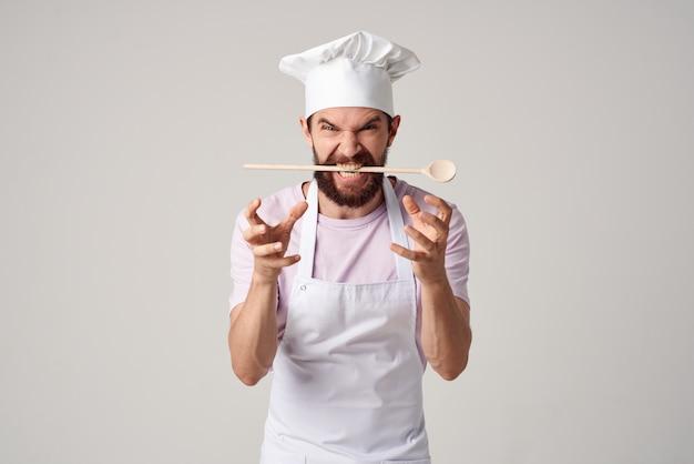 Mannelijke chef-kok professionele kookservice. hoge kwaliteit foto