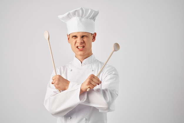 Mannelijke chef-kok uniform keukenbenodigdheden professioneel werkpersoneel