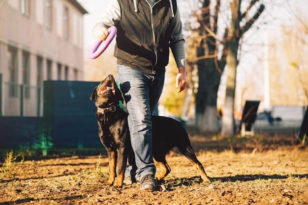 Mannelijke cynoloog, politiehond opleiding buiten