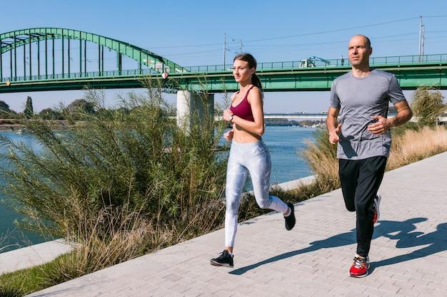 Mannelijke en vrouwelijke joggers die in het park uitoefenen