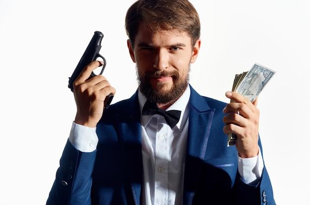 Mannelijke gangster dollars miljonair studio emoties
