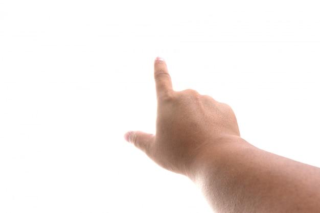 Mannelijke hand aanraken of wijst naar iets