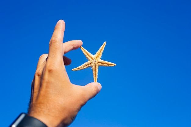 Mannelijke hand die een zeester op een blauwe hemelachtergrond houdt.
