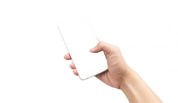 Mannelijke hand die gouden smartphone met het lege die scherm gebruiken op witte achtergrond met het knippen van weg wordt geïsoleerd.