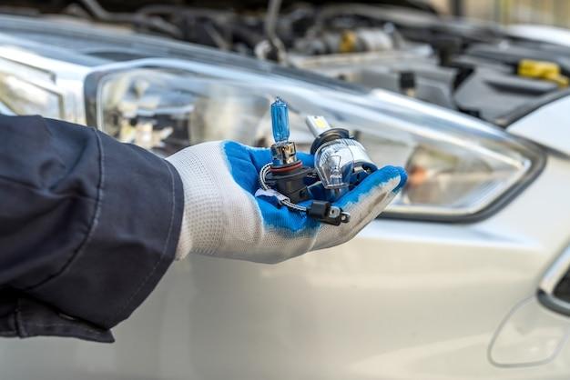Mannelijke hand met nieuwe halogeen autolamp