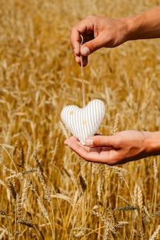 Mannelijke handen die gevuld stuk speelgoed hart onder de selectieve nadruk van tarweoren houden