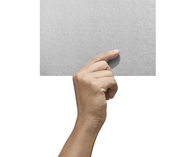 Mannelijke handen die leeg document houden