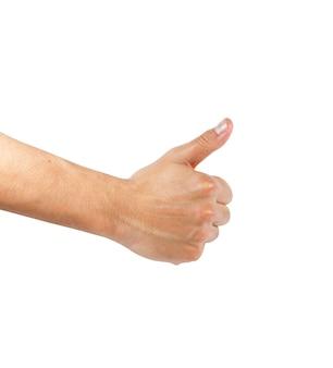 Mannelijke handen met ok teken dat op wit wordt geïsoleerd