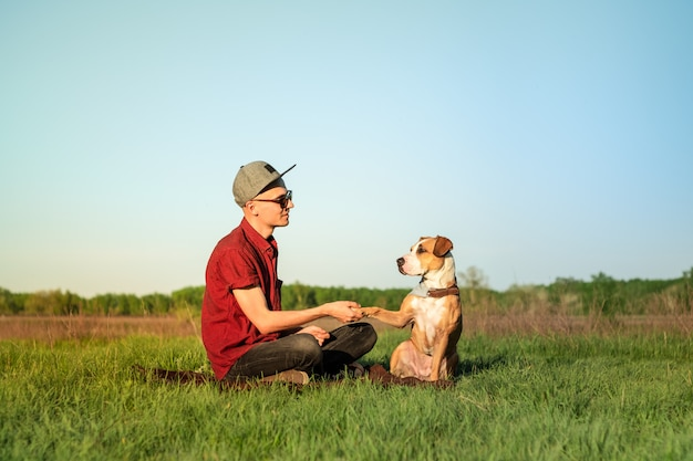 Mannelijke hondeigenaar en opgeleide staffordshire terriër die poot geven bij gazon