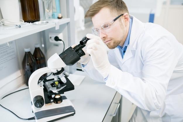 Mannelijke microbioloog die voedselvezels bestudeert onder microscoop