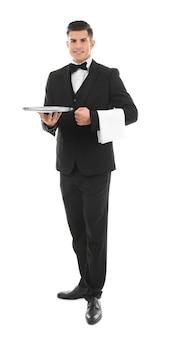Mannelijke ober met leeg dienblad op wit