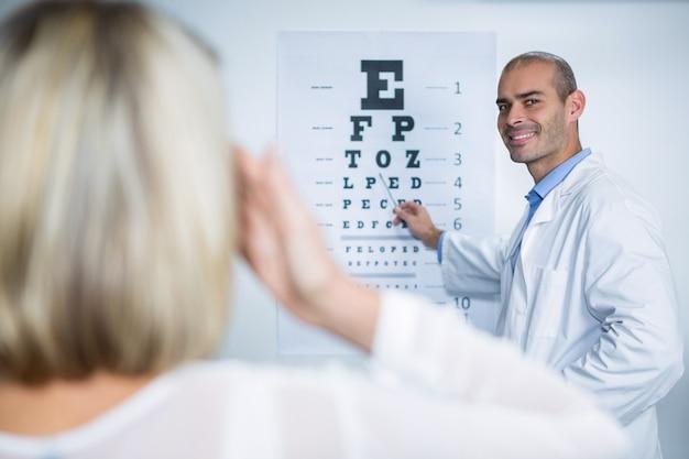 Mannelijke optometrist die oogtest van vrouwelijke patiënt neemt