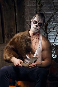 Mannelijke suiker schedel make-up. schminken kunst.