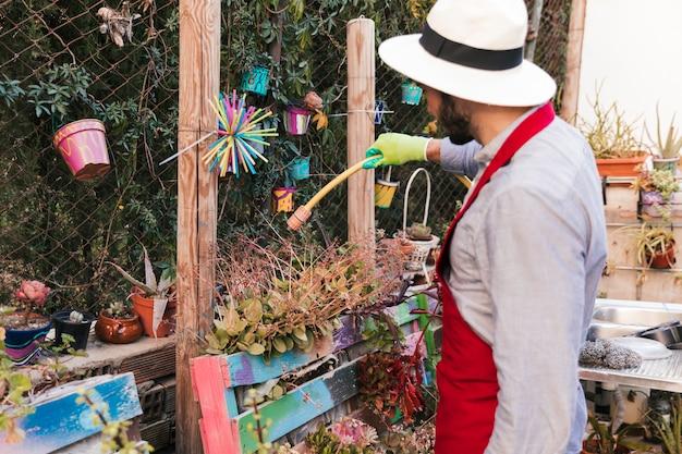 Mannelijke tuinman die hoed dragen die de installatie in tuin met slang water geven