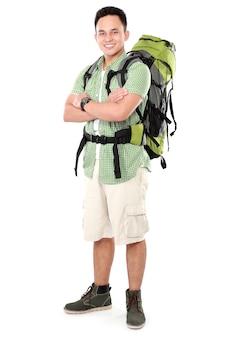 Mannelijke wandelaar met rugzak