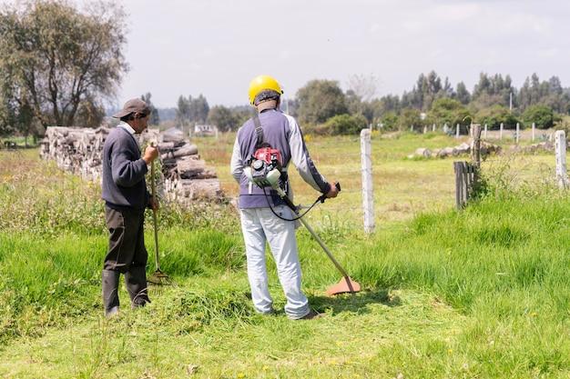 Mannen aan het werk in de tuin