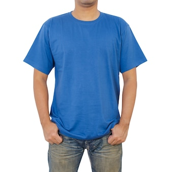 Mannen in blauw t-shirt