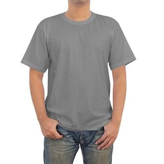 Mannen in grijs t-shirt