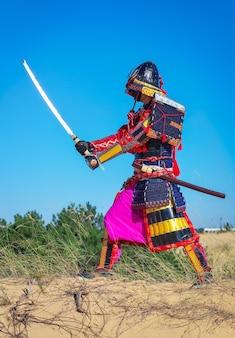 Mannen in samoeraienpantser met zwaard. origineel personage