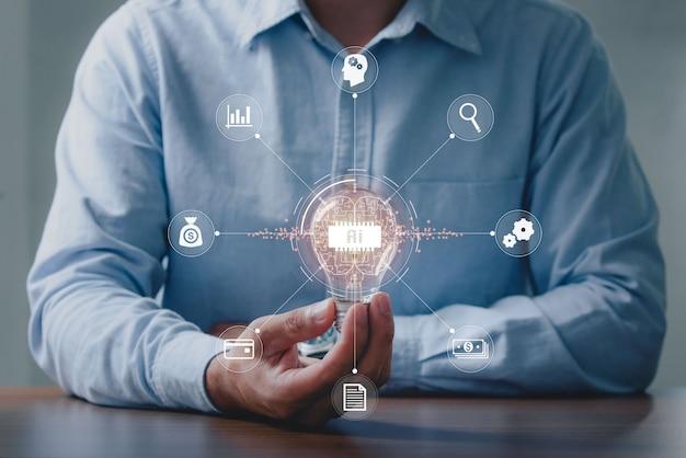 Mannen met gloeilampen, ideeën van nieuwe ideeën met innovatieve technologie en creativiteit. innovatieve nieuwe concepten in de meest geavanceerde ai (kunstmatige intelligentie) technologie