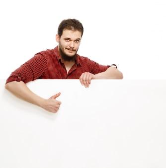Mannen met wit bord