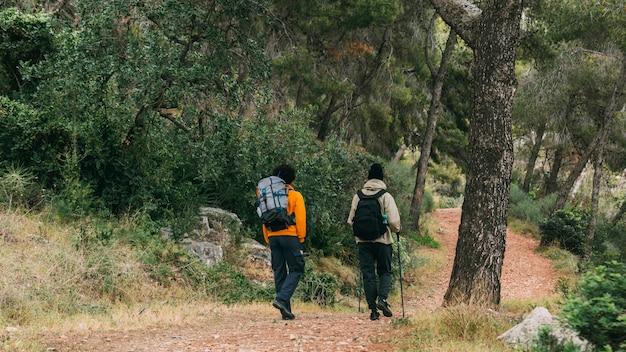 Mannen trekking in de natuur