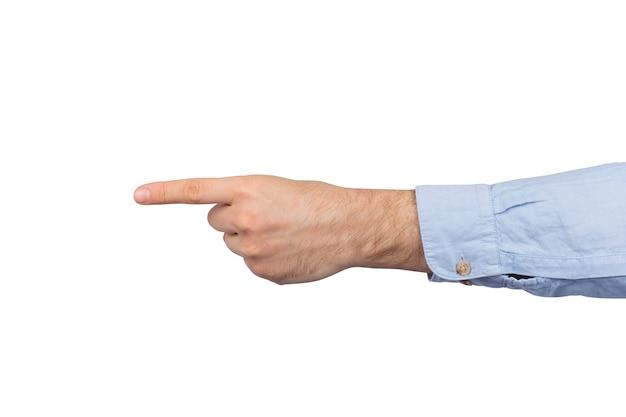 Mannenhand geïsoleerd op een witte achtergrond geeft de bewegingsrichting aan
