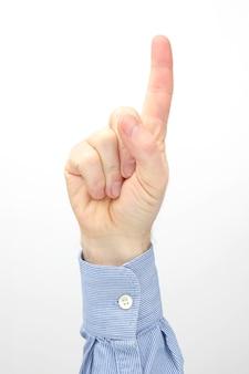 Mannenhand met wijsvinger opgewekt