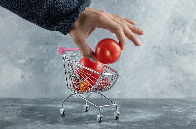 Mannenhand nemen tomaat uit uw winkelwagentje