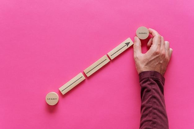 Mannenhand plaatsen van houten pinnen en cirkels om een diagram te vormen met de pijl die van woord start to goal wijst in een conceptueel beeld van persoonlijke ambities. over roze achtergrond.