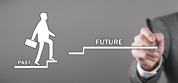 Mannenhand trekt menselijk symbool klimmen verleden naar toekomstige trappen.