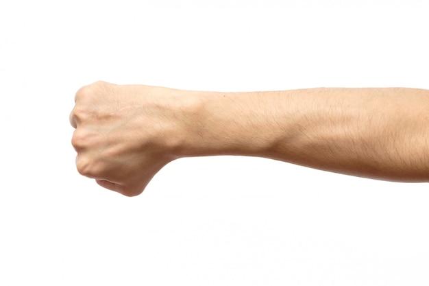 Mannetje dichtgeklemde vuist die op wit wordt geïsoleerd
