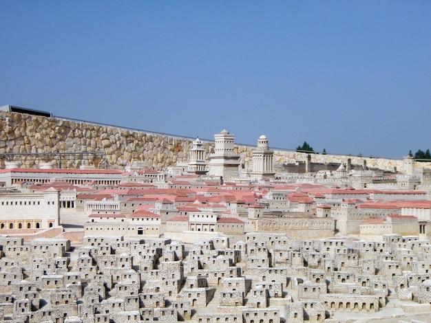 Maquette van de oude stad. museum van jeruzalem. israël.