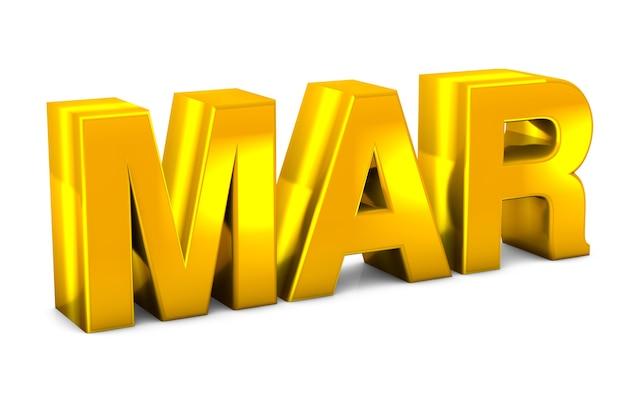 Mar gold 3d-tekst maart maand afkorting geïsoleerd op witte achtergrond 3d render.