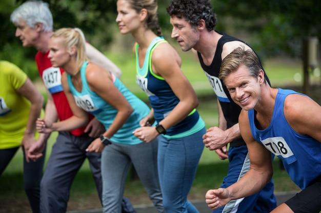 Marathon-atleten aan de startlijn