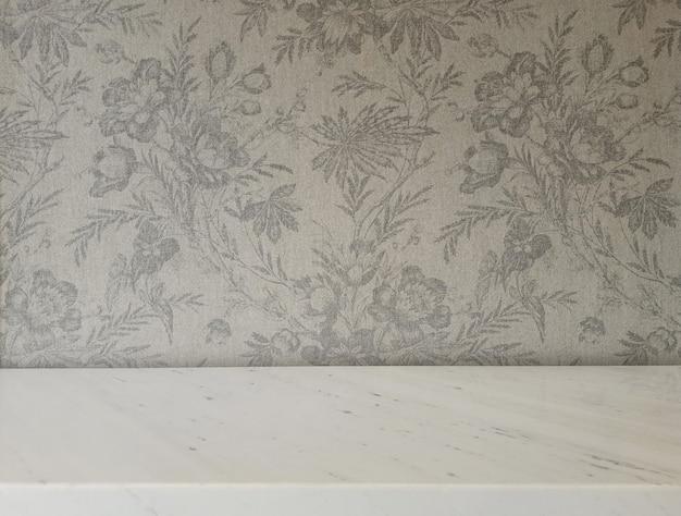 Marbel tafel met gebloemde stof erfgoed achtergrond