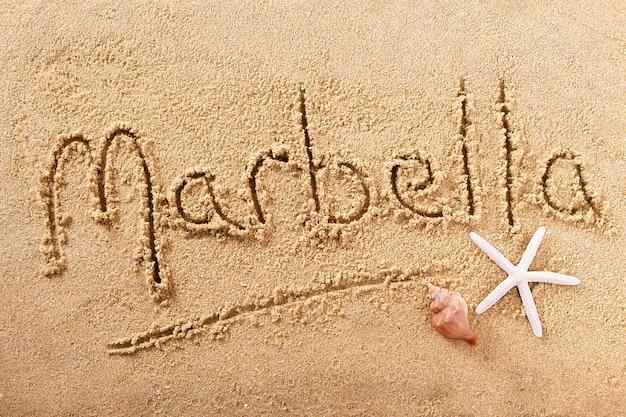 Marbella spanje handgeschreven strand zand bericht