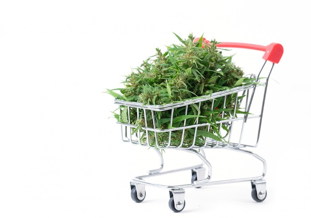 Marihuanabloem in geïsoleerd boodschappenwagentje