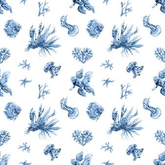 Marineblauw koraal aquarel naadloze patroon. oceaan, zee onderwater bewoners, vissen, kwallen, hippocampus, actinium set. trendy zomer tropische textielprint