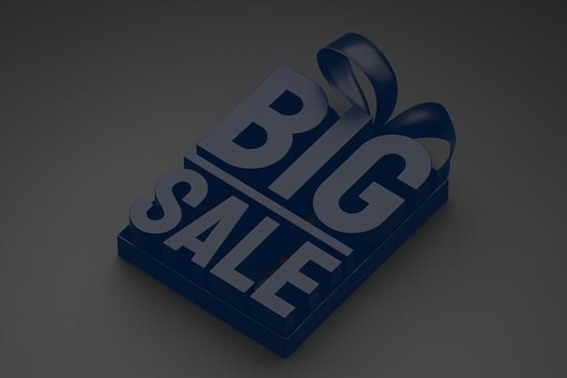 Marineblauwe grote verkoop 3d-ontwerpweergave voor verkoopbevordering met lint en boog op zwarte geïsoleerde achtergrond