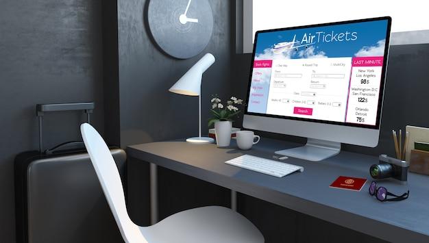 Marinendesktop met reisaccessoires en vliegticketswebsite op computer het 3d teruggeven