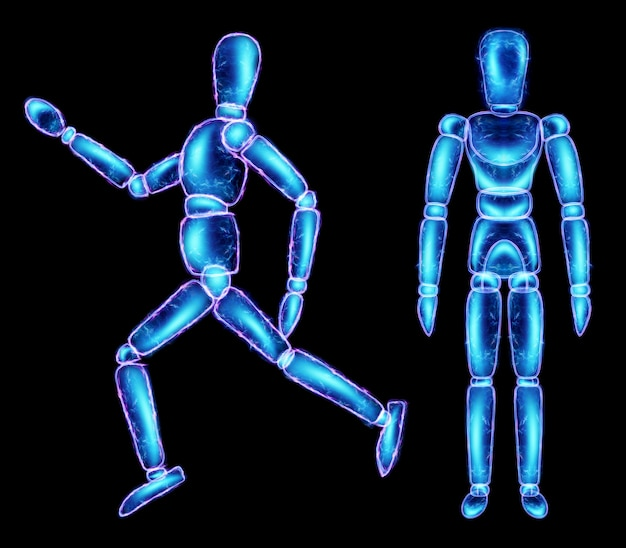 Marionette pop neon hologram geïsoleerd op zwarte achtergrond, 3d illustratie, 3d render.