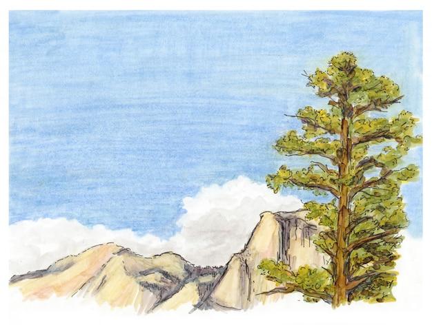 Marker geschilderde schets van berglandschap met pijnboom.